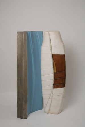 Bound Column – Blue Column, mahogany wood, paint and gold leaf, 1981, 48X46X126
