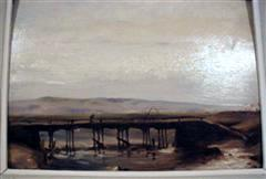 Landscape with a Bridge, oil on wood