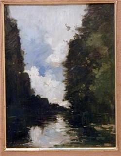 Landscape with River, oil on cardboard mounted on canvas