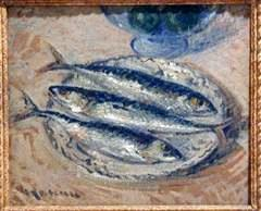 Herrings, oil on cardboard mounted on canvas