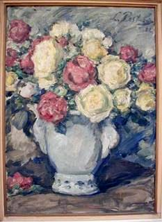 Vase with Yellowish and Red Roses, 1932, oil on canvas