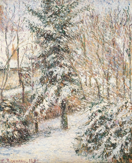 Corner in the Garden, Snow, Éragny, 1892,  oil on canvas