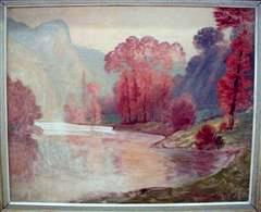 Landscape with Lake and Red Trees, oil on canvas