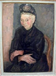 Old Woman with Hat Dressed in Black, oil on canvas