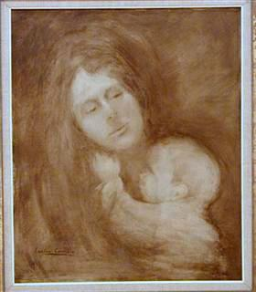 Maternity, Woman and Child, oil on canvas